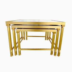 Vintage Brass Nesting Tables from Maison Jansen, 1970s, Set of 3