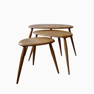 Model 354 Elm Windsor Range Pebble Tables by Lucian Ercolani for Ercol, 1960s