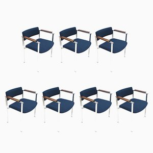 Vintage Blue Armchairs, 1960s, Set of 7