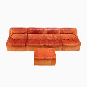 Cognac Leather Modular Sofa, 1960s
