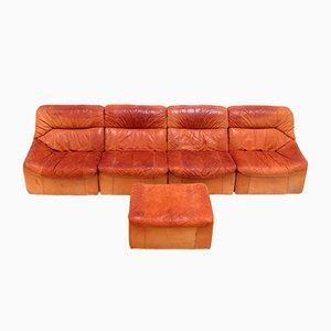 Cognac Leather Modular Sofa, 1960s