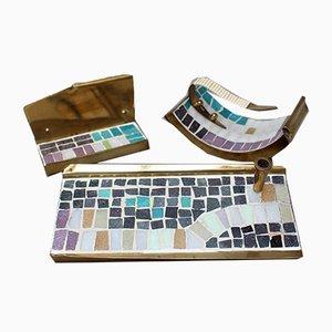 Mid-Century Messing & Mosaik Schreibtisch Set, 1960er