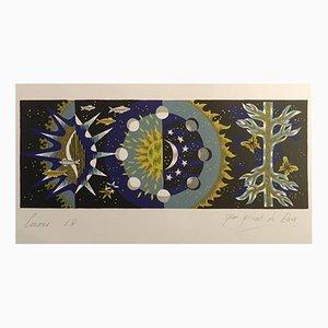 Litographie Cosmos par Jean Picart Le Doux, 1950s