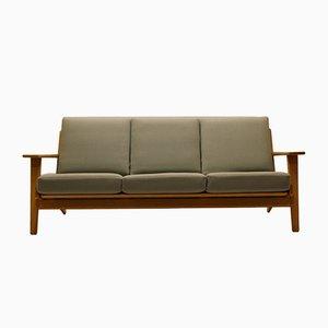 Vintage GE370 3-Sitzer Sofa aus Eiche & Wolle von Hans J. Wegner für Getama