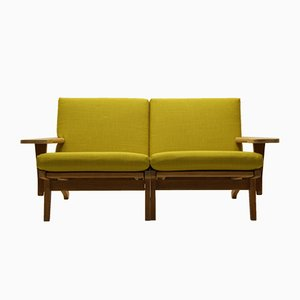 Vintage GE370 2-Seater Sofa in Oak & Wool by Hans J. Wegner for Getama