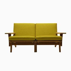Vintage GE370 2-Sitzer Sofa aus Eiche & Wolle von Hans J. Wegner für Getama