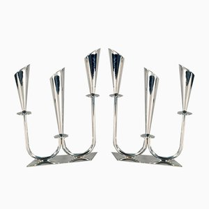 Danish Silver Plated Triple Candelabras by Hans Jensen, 1950s, Set of 2