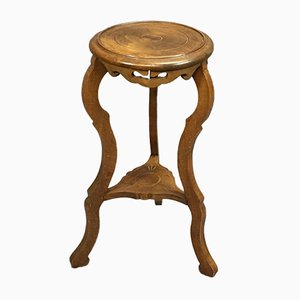 Vintage Art Nouveau Stool in Walnut