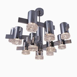 Italian 11 Light Chrome & Glass Chandelier by Gaetano Sciolari, 1970s