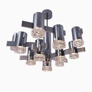 Lámpara de araña italiana de cromo y vidrio con 11 puntos de luz de Gaetano Sciolari, años 70