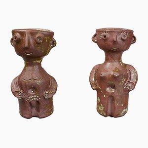 Jarrones antropomórficos vintage de cerámica modelada de Jacques Pouchain. Juego de 2