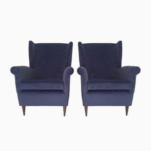 Mid-Century Armchairs in Velvet, Set of 2