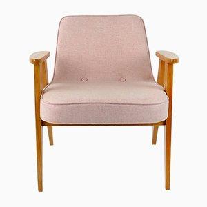 Rosa Vintage Modell 366 Sessel aus Wolle von Józef Chierowski