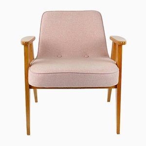 Vintage Model 366 Pink Wool Chair by Józef Chierowski