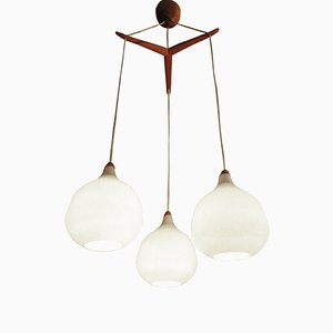 Vintage Teak and Opaline Drop Pendant Light by Uno & Östen Kristiansson for Luxus