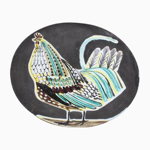 Großer Französischer Keramik Hahn Teller von Roger Capron, 1950er