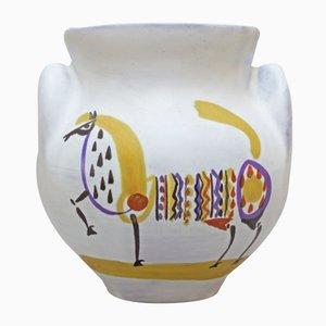 Jarrón de cerámica con orejas y con un caballo de Roger Capron, años 50