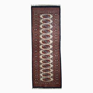 Alfombra de pasillo Bukhara uzbeka vintage hecha a mano, años 60