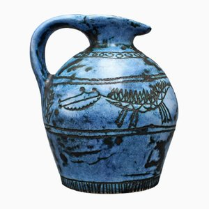 Blue Ceramic Jug by Jacques Blin, 1950s