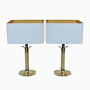 Mid-Century Modern Brass and Chrome Table Lamps, Set of 2