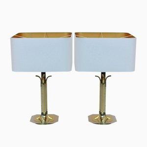Mid-Century Modern Tischlampen aus Messing & Chrom, 2er Set