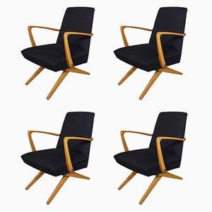 Sedie con gambe a forbice, anni '50, set di 4