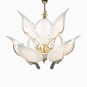 Large Gilded Nine Leaf Chandelier, 1970s