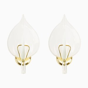 Gilded Murano Glass Leaf Wall Lights, 1970s, Set of 2