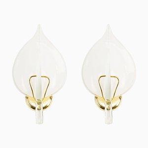 Vergoldete Murano Glas Wandlampen, 1970er, 2er Set