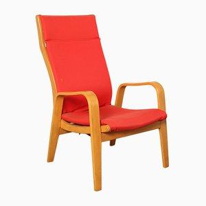 Butaca FB05 en rojo de Cees Braakman para Pastoe, años 50