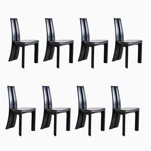 Black Leather Dining Chairs, 1970s, Set of 8