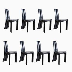 Schwarze Leder Esszimmerstühle, 1970er, 8er Set