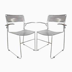 Italienische Vintage Chrom Stühle, 1980er, 2er Set