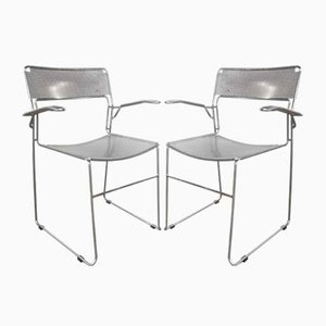 Vintage Italian Chrome Chairs, 1980s, Set of 2