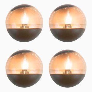 German Space Age Half Dome Wall Lights, 1970s, Set of 4