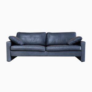 Canapé Conseta Vintage en Cuir Bleu de Cor