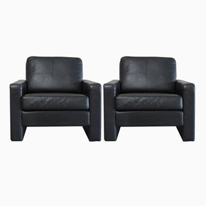 Vintage Conseta Black Leather Armchairs from Cor, Set of 2