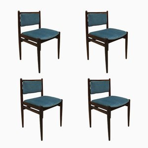 Danish Velvet Dining Chairs, 1960s, Set of 4