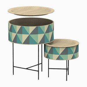 Tavolini a incastro a forma di tamburo di Zpstudio per Dialetto Design