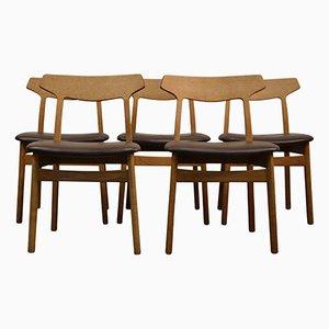 Oak Dining Chairs by Henning Kjaernulf for Bruno Hansen, 1960s, Set of 5