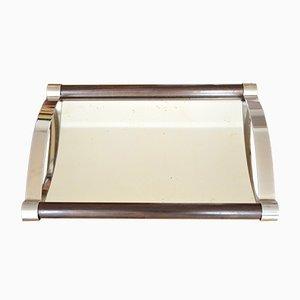 Französisches Art Deco Tablett mit Spiegelglasfläche, 1920er