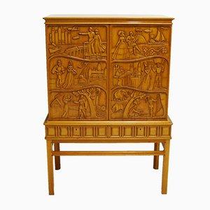 Mueble bar tallado con espejo de Eugen Höglund, 1956
