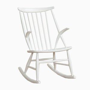 Sedia a dondolo vintage bianca di Illum Wikkelsø per Niels Eilersen