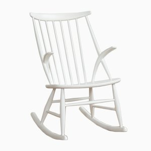 Vintage White Rocking Chair by Illum Wikkelsø for Niels Eilersen