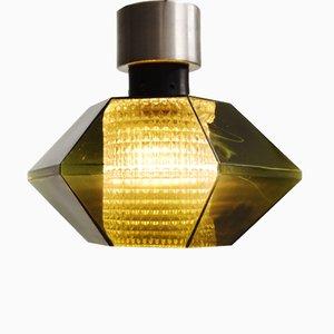 Lampada da soffitto Mid-Century in vetro verde di Carl Fagerlund per Orrefors