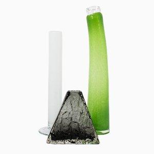 Vases Mid-Century en Verre, Set de 3