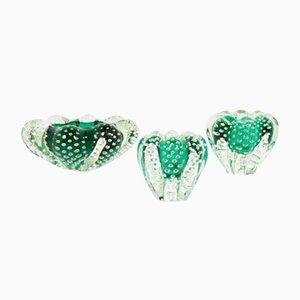 Cuencos decorativos de cristal burbuja, años 60. Juego de 3