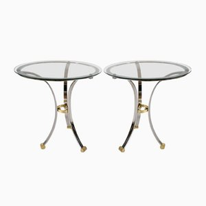 Vintage Round Chrome & Brass Side Tables by Maison Jensen, Set of 2