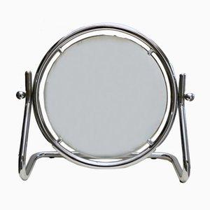 Espejo de mesa grande redondo de cromo, años 70