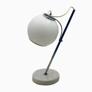 Lámpara de mesa blanca con pantalla de vidrio ajustable y base de mármol, años 70